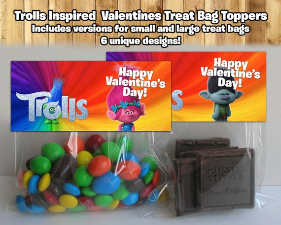 Printable Trolls Treat Bag Toppers For Valentine's Day