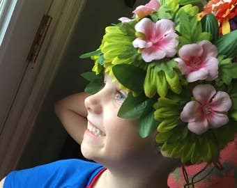 Hawaiian Flower Crown, Moana Inspired Flower Crown, Hula Flower Crown, Moana Headband, Island Headband, Hawaiian Headband, Hula Headband