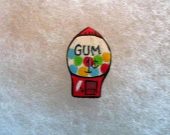Gumball Machine Jewelry Pin - handcarved and handpainted