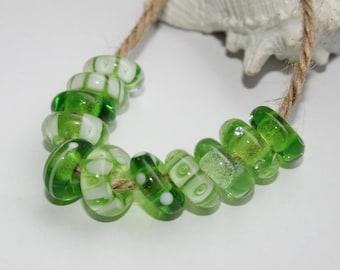 Lampwork beads, glass beads, artisan beads, green, grass green, handmade glass beads, 13-14 mm