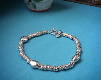 Large oval bracelet 925 Silver nuggets hammered and nuggets