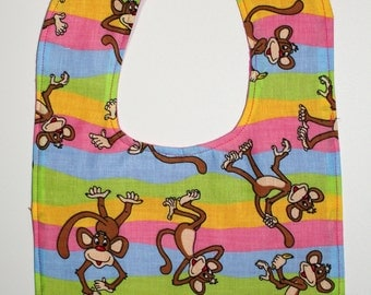 Pink Monkeys Toddler Bib