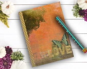Romantic Love Diary, Flower Journal, custom notebook, girl's diary, Gifts under 10, travel journal Notebook