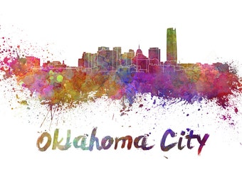 Oklahoma City skyline watercolor canvas,  Oklahoma City Canvas, OKC wall art, Oklahoma City Canvas Wall Art, Oklahoma City wall art canvas