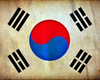 Vintage South Korea Flag on Canvas, South Korea Wall Art, South Korea Photo flag on canvas, Single or Multiple Panels South Korea flag