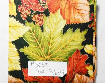 Fabric - 1yd piece- Harvest Breeze/Large/Packed/Fall leaves/metallic/Acorns/Pinecones/brown/green/red/rust/orange/peach(#3063) Red Rooster
