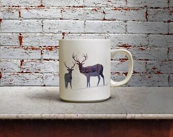 Deer Winter Scene Double Exposure Coffee Mug