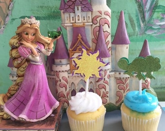 Rapunzel Cupcake Toppers Set of 12 -Free Shipping- Tangled Party!