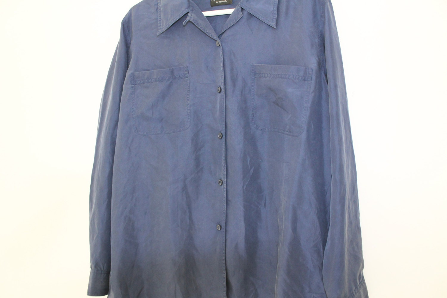 Move20 Blue Silk Blouse Women Shirt Long By Rellufindsvintage