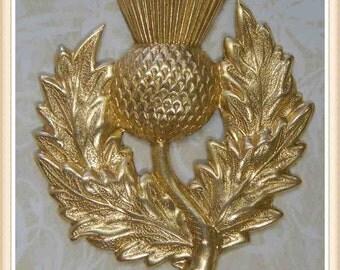 raw brass thistle scottish embellishment ornament 1 piece E0085