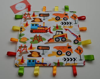 Construction taggy, Tractor comforter, Construction cuddle toy, Taggie
