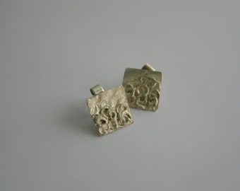 Square fused silver earrings. Ladies silver earrings. Silver earrings with butterfly closing,