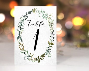 Greenery Wreath Wedding Table Numbers Leafy Green Wedding Decor Garden Botanical Watercolour Leaves digital table numbers INSTANT DOWNLOAD