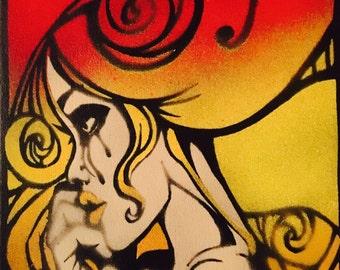 Lost in beauty- Eelus, banksy, fin DAC, tristan eaton, art, spray paint, graffiti, stencil, canvas