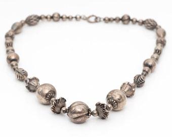 Beaded Sterling Silver Vintage Necklace, VJ #729
