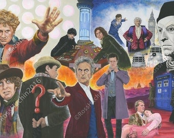 Doctor Who 'All The Doctors' Gicleé Print.