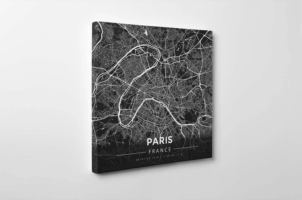 Gallery Wrapped Map Canvas Of Paris France Modern Contrast: Paris Map Canvas At Infoasik.co