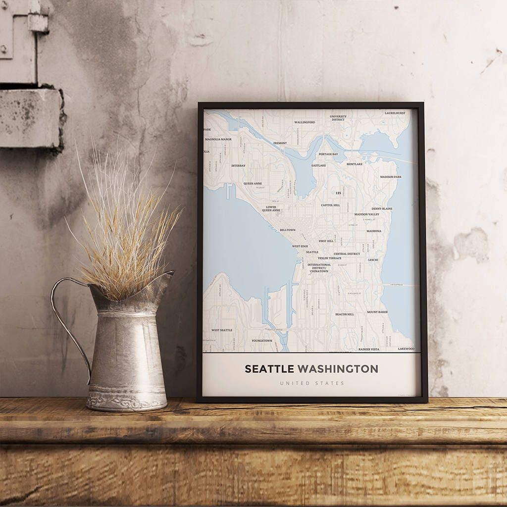 Premium Map Print of Seattle Washington Simple Ski Map
