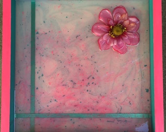 Glow in the dark  multi-layer epoxy resin in wood canvas box with faux flower