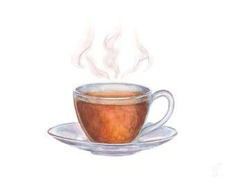 Original Watercolor Glass Cup of Tea Painting, Drink Illustration, Kitchen Decor, Restaurant Decor, Bar Decor, Home Decor, Wall Art