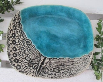 unique ceramic plate, lacy turquoise plate, turquoise handmade platter, appetizer with ornaments, serving plate, unique decorative tray