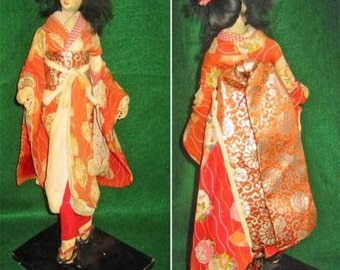 Japanese Geisha Red Large Costume Sakura Ningyo Doll Vintage 50s On Stand Sakura Ningyo