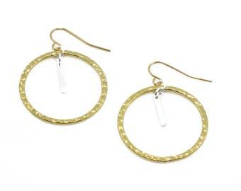 Contrast hoop dangle earring - Silver on Gold