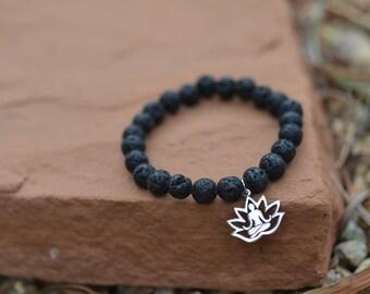 Lava Rock Meditation Lotus Bracelet / Yoga Jewelry / Wrist Mala / Stacking Jewelry / Prayer Beads / Charm / Meditation / BOHO / Unisex
