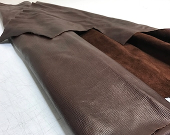 LIMITED OFFERING: Dark Brown Bark Print Cow Leather- ONLY 1 left!- Perfect for Handbags, Shoes, Garments, Accessories, Leather Crafts.