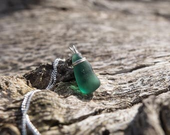 Top-wrapped seaglass + Stirling Silver triangular pendant