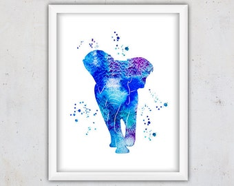 Animal Print, Watercolor Elephant Print, Home Decor Nursery, Safari Nursery, Jungle Wall Art Print, Digital Instant Download Print, Kids