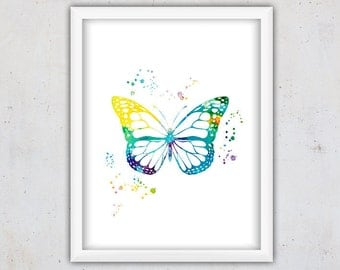 Watercolor Butterfly Print, Nursery Archival Print, Digital Print, Insect Print, Modern Kids Art, Download Art, Instant Poster, Printable