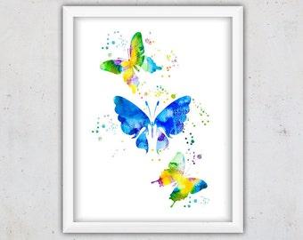 Butterflies Nursery Print, Butterfly Poster, Digital Print Download, Insect  Art Print, Watercolor Art, Butterflies Art Print, Nursery Art
