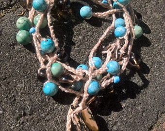Delightful Turquoise and Brown Boho necklace