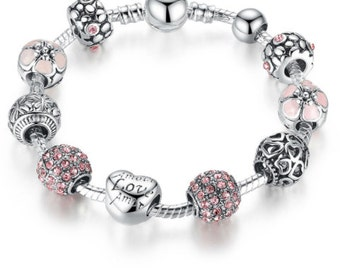 Heart Silver Charm Bangle & Bracelet with Love and Flower Crystal Ball