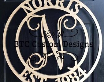Wooden MonogramDoor Monogram wood monogram wood monograms Birch circle Door Monogram & Door monogram   Etsy pezcame.com