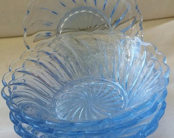 Vintage blue glass dessert dishes, retro, set of five