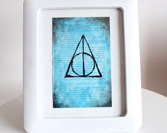 Digital Harry Potter book page hand painted Deathly Hallows Acrylic painting JPEG Ravenclaw Blue