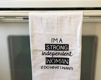 Strong woman Tea Towel/Gifts/linens/Funny