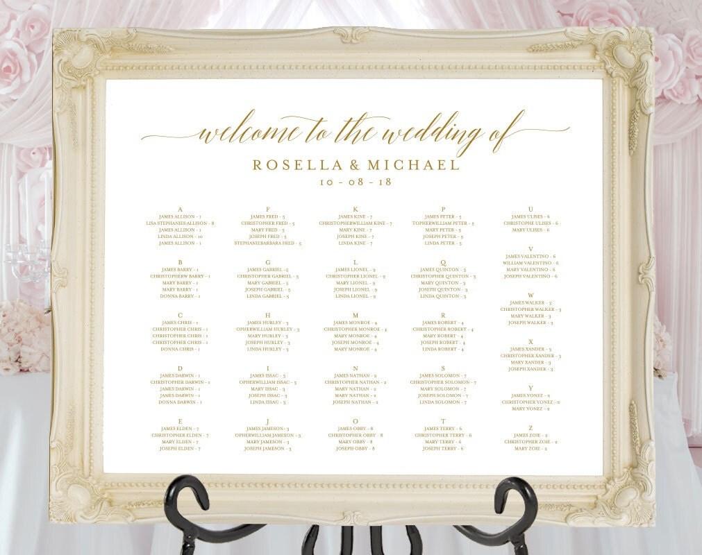 Gold Wedding seating chart printable seating chart Seating
