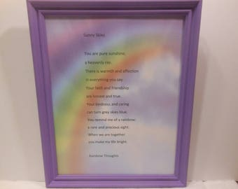 Sunny Skies inspirational poetry on designer paper in hand painted 8x10 frame