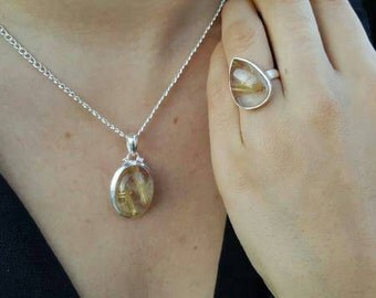 Gold Rutilated Quartz Necklace and Ring set