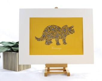 Triceratops, Dinosaur Print, Childrens Art, Childrens Print, Nursery Wall Art, Birth & Christening gift