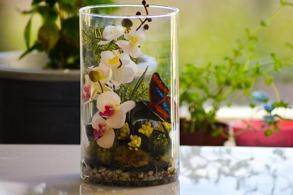 Artificial terrarium orchid centerpiece wedding