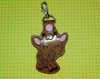 Happy Giraffe Keychain/ Snap Tab