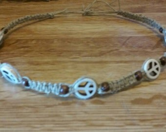 Peace bead hemp necklace