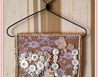 Handmade Shabby Chic Button Wall Hanging- Love You