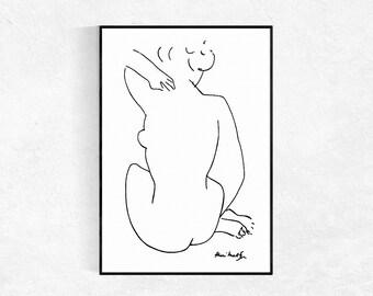 Female Figure Print, Modern Minimalist Print, Nude Sketch, Figurative Drawing, Matisse Print, Nude, Scandinavian Print, Printable Art