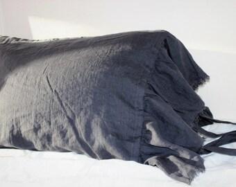 Set of 2 pillowcases.Ruffled shams.Linen shams.Handmade pillowcases. 1 Body pillow cover. Euro shams-Queen-King