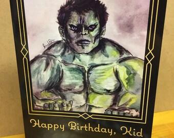 Hulk-Awkward Family Photo-5x7-Happy Birthday- Blank Inside -by Joanna Weinreich